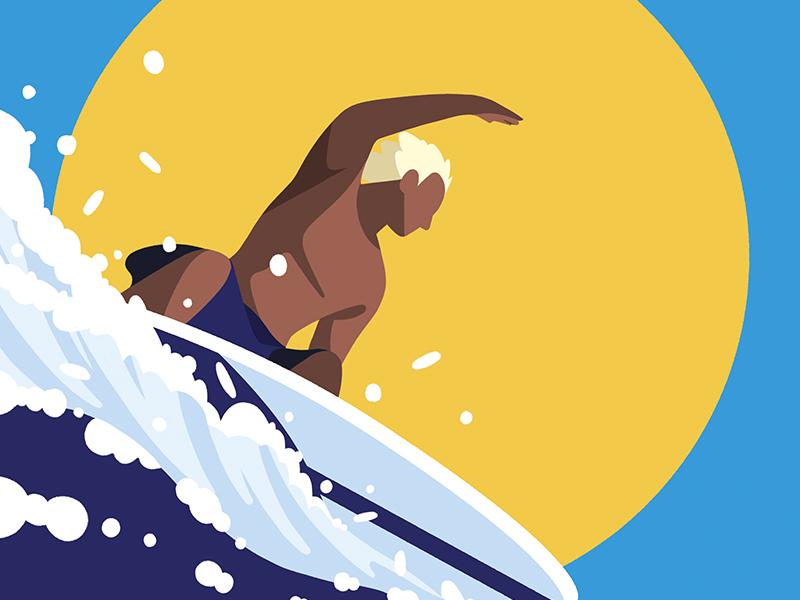 surfing surf color summer character illustration
