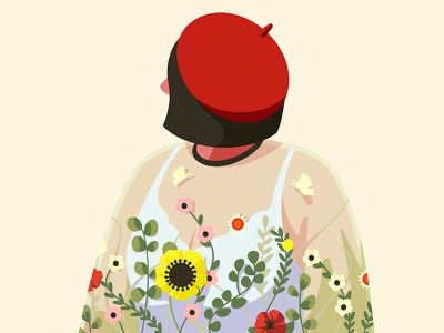 Flower floral woman color girl character illustration