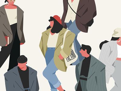 Vintage fashion style fashion vintage people woman illustration character illust