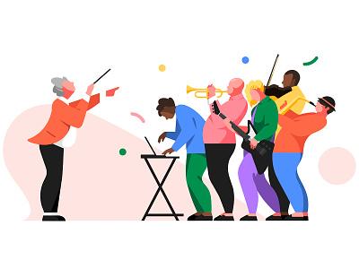 Fred - illustartion 01 color flat 2d orchestral design ui character illustration collaborate