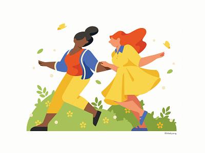 Calendar illustration_March calendar march spring 2d woman color character illustration