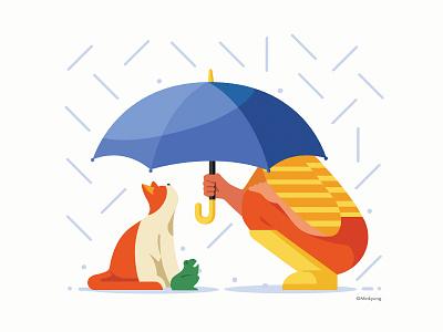 Calendar illustration_April rain cat flat vector 2d pet color character illustration calander