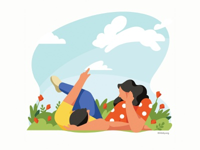 Calendar illustration_May couple spring vector 2d flat color woman character illustration