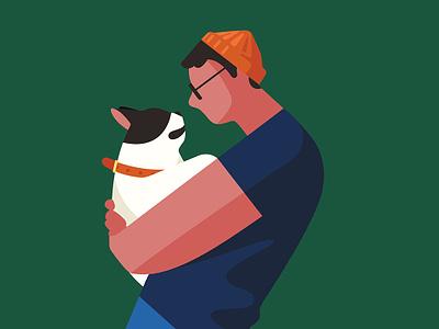 Animal Companions dog flat color pet 2d character illustration