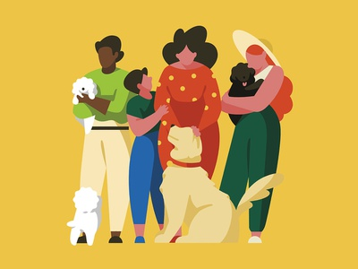 Animal Companions people dog pet woman illustration character
