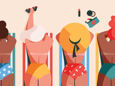 Summer vacation bikini girl summer flat woman color 2d character illustration