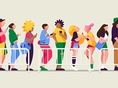Concert concert line vector people flat 2d woman illustration character