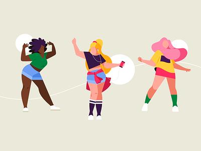 Dance vector idol teenage dance people flat 2d color character illustration girl