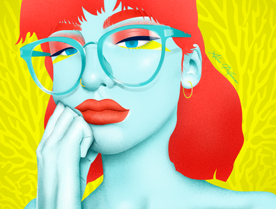 Coral piercing glasses adobe illustrator adobe photoshop hair makeup woman character design yellow vibrant illustration illustrator design vector coral