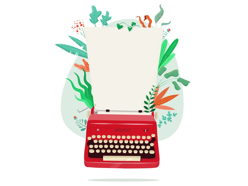 Typewriter Illustration vector create floral design typewriter illustration flora