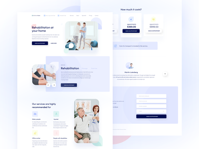Therapy and rehabilitation center homepage ui website contact services page testimonials pricing table health rehabilitation landing page services pricing