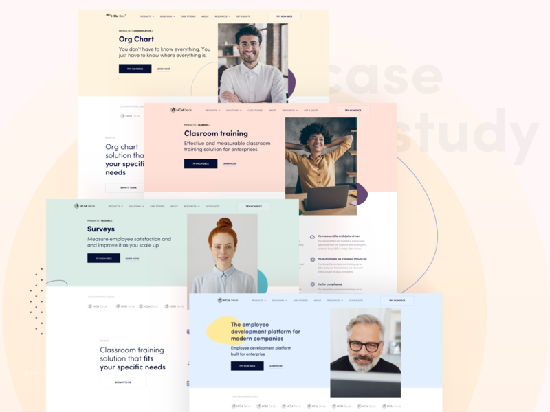 HCM Deck Redesign - Case study case study process ux web design website flat design redesign homepage pastel blob shape photo pastel colors pastell