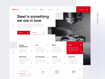 Protech - A professional website for the steel industry clean design design website homepage steel factory production steel website steel partner steel industry proffesional website