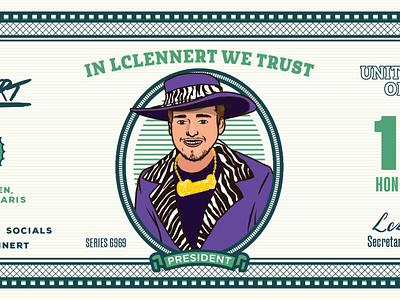 LC LENNERT president money biljet dollar pimp