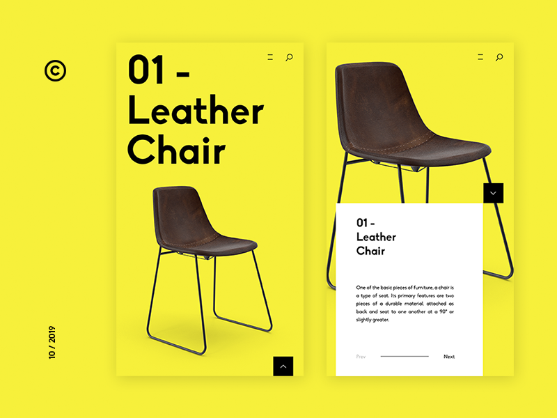 Leather Chair Online Shop Apps simple design simple clean design clean ui flat sketch mobileapps uidesign ui