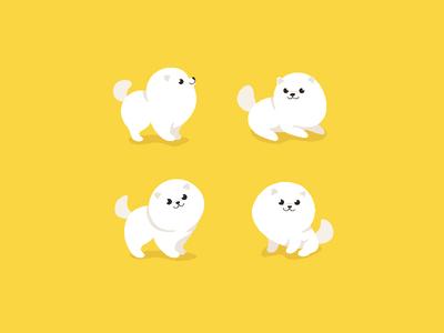 Pomeranian puppy cub little dog kawaii domestic doggy white pup spitz cartoon dog cartoon animal round character illustration animal vector flat  design animal character