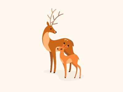 Deer and fawn. antler caribou reindeer stag fawn deer forest animals illustration cartoon animal round character flat  design vector animal character
