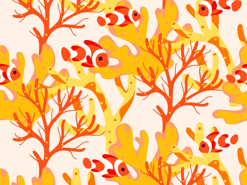 Pattern with clown fish and coral design round illustration animal character flat  design cute tropical exotic coral fish pattern art pattern design clownfish coral reef coral pattern