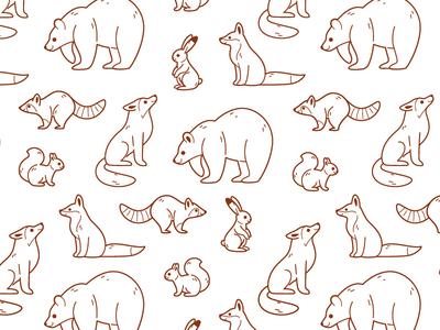 Line pattern with forest animal squirrel raccoon bunny hare wolf fox bear forest animals flat  design cartoon cartoon animal cute design character animal illustration vector animal character