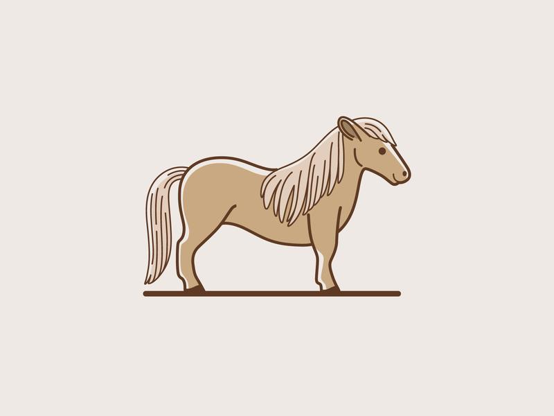 Cartoon pony little horse horse pony cartoon animal round cute design character animal illustration vector flat  design animal character