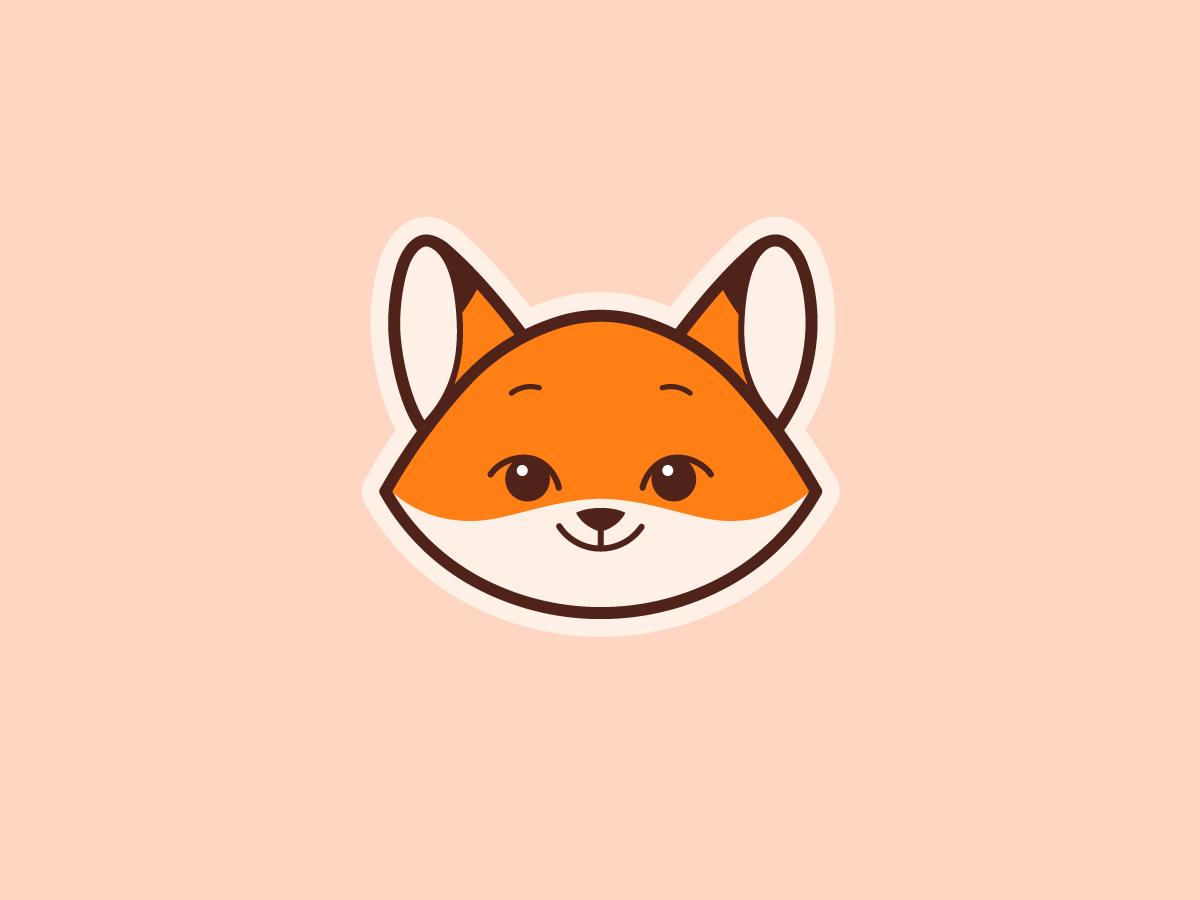 Little fox logo animal logo vector fox cartoon animal little face cartoon character cartoon fox character face logo flat  design animal