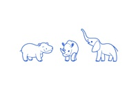 Animal icon set. Hippo, rhino, elephant.