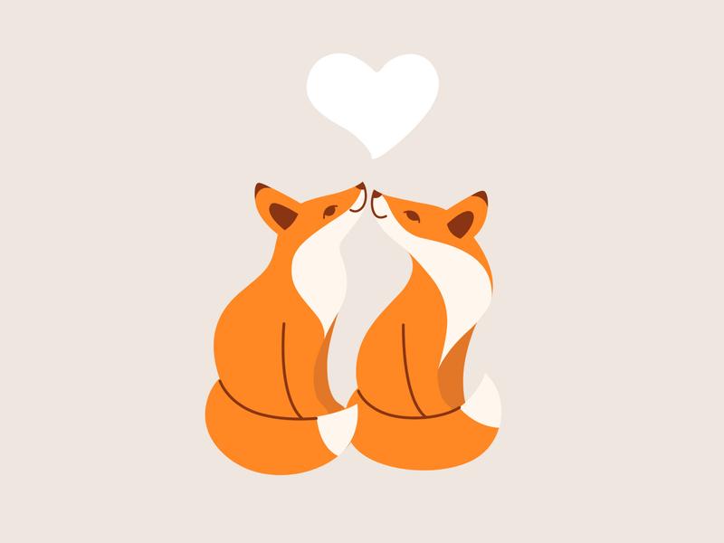 Couple of fox, loving couple. two fox pair lover little fox animal character character illustration animal vector flat  design loving cartoon fox fox love couple