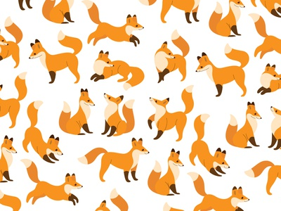 Cute animal - simple cartoon pattern with fox. Different poses o