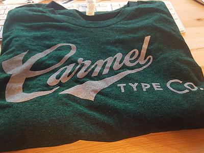 Carmel Type Logo Tee carmel type lettering typography custom type discharge printing apparel