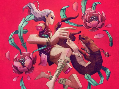 The girl and the weasel character design andres moncayo flower drawing weasel draw art direction art 2d art 2d illustration girl illustration girl