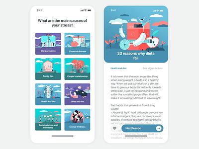 Emotional state app interface wellness stress lesson blog selector app design illustration ux ui app emotional