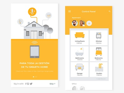 Smart Home App design material smart app intelligence illustration home automation automatic