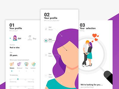 Dating app illustration love tinder ux ui match single couple dating date app