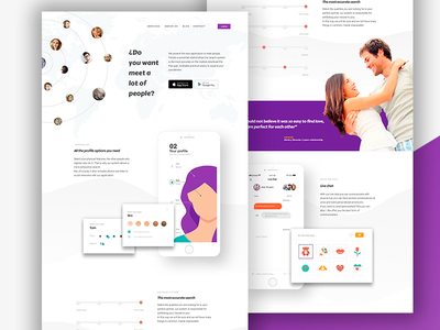 Dating, landing page couple ux single match love date landing page illustration dating ui website