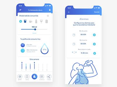 Water remainder, app lifestyle health ios bottle ux ui blue remainder agua aqua water