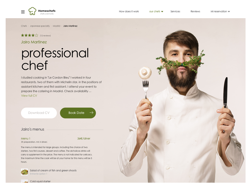 Private chefs, web cocineros a domicilio website a domicilio at home cocineros cv food landing page professional diner chef cooks