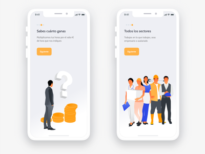 Onboarding #2 count working time ui ux illustration freelance schedule timer app time hours counter