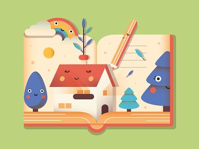 Write & Dream adobe illustrator pencil tree house rainbow design shot dream write book illustrator draft flat dribbble cute illo character vector illustration