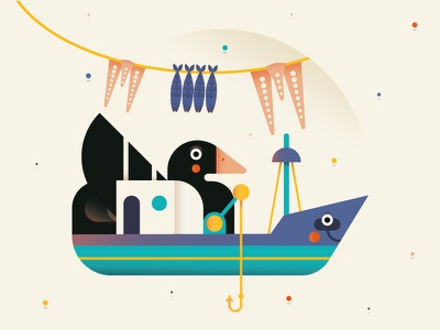 Lipsi Island minimal vector artwork boat adobe illustrator digitalart fish duck greek island shot design dribbble cute illo illustrator draft flat character illustration
