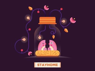 Stay Home stay home palette color flower light chest bird dribbble cute illo illustrator shot draft flat character vector design illustration