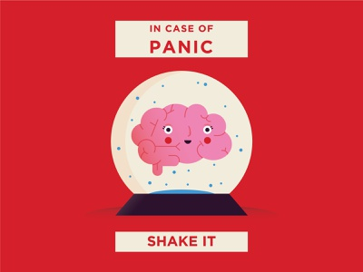 In case of panic dribbble shake panic in case of snowball brain illo shot flat character vector design illustration