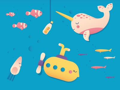 Under the blue narwhal submarine fish sea cute illustrator illo shot draft flat character vector design illustration