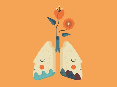Breath breath of the wild flower mountains sea breathing breath flat draft design shot cute illo illustrator vector illustration