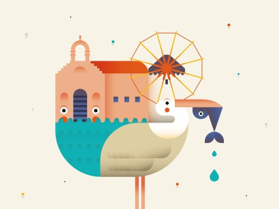 Mykonos Island fish illustration design vector character flat draft illustrator illo cute shot dribbble adobe illustrator minimal windmill pelican sea island greek