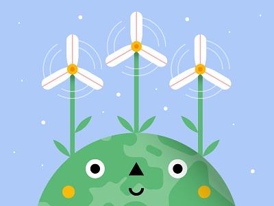 Global Wind Day dribbble best shot nature daisies energy planet global day wind adobe illustrator illustrator illo design shot draft character flat vector illustration