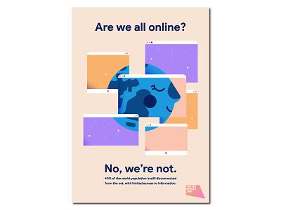Are we all online? illo dribbble adobe illustrator illustrator palette cute poster minimal right disconnect online internet shot draft flat vector design illustration