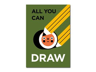 ALL YOU CAN DRAW all you can hosomaki illustration design vector veci flat roll food shot draft draw sushi minimal poster palette illustrator adobe illustrator dribbble illo