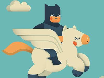 Batman and Pegasus adobe minimal heroes hero pegasus batman design dribbble cute illustrator illo shot flat character vector illustration