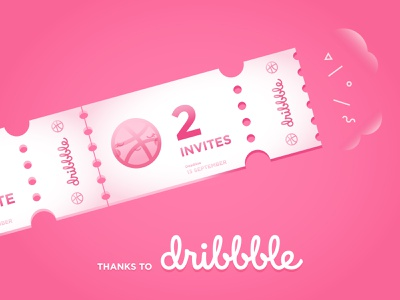 2 Dribbble Invites ticket dribbble shot join illustrator member pink player cute two invites invite illustration dribbble invite giveaway dribbble invite dribbble invitation draft