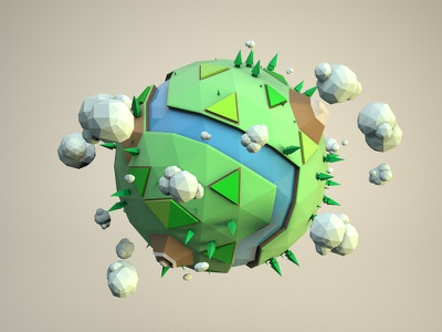 Big World - Landscape planet mountain trees daily world c4d low poly 3d render cinema 4d